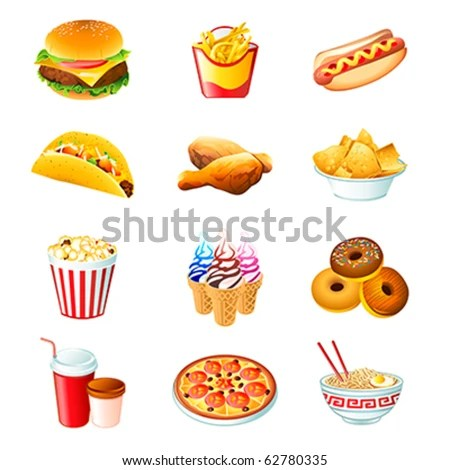 stock vector : Colorful icons with fast food meals isolated