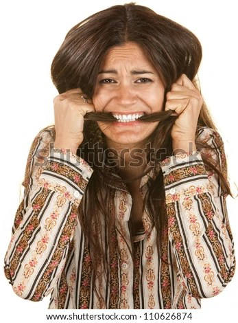 Frantic Young Woman Biting On Her Long Hair Stock Photo 110626874 : Shutterstock
