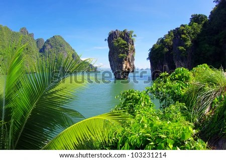 james bond island in thailand, ko tapu - stock photo