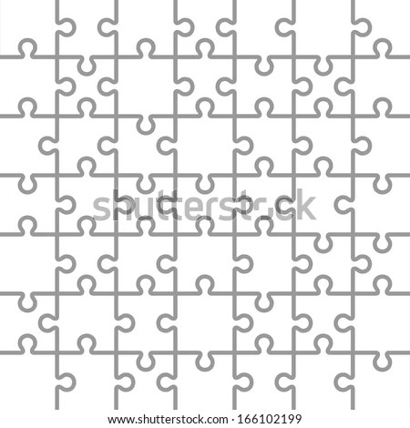 Jigsaw Puzzle White Blank Parts Template. 7x7 Pieces