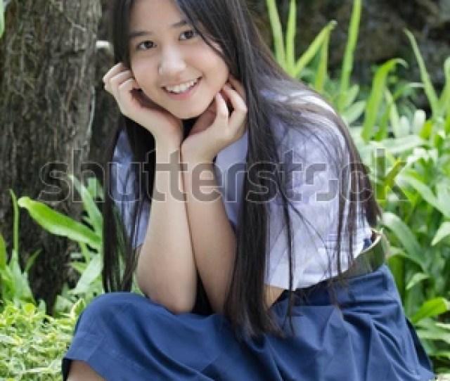 Portrait Of Thai High School Student Uniform Teen Beautiful Girl Happy And Relax 527152711
