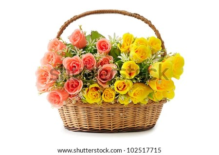 Artificial Flowers In Basket Isolate On White Stock Photo