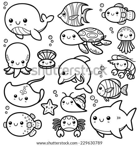 Royalty-free Cute sea life doodles: shrimp, starfish