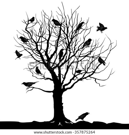 Winter Tree With Birds On Twig Vector Silhouette
