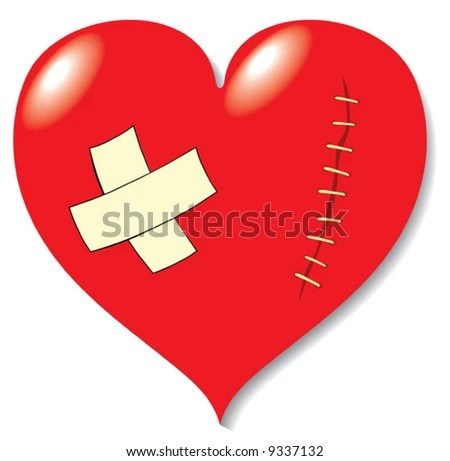image of a heart with bandage and stitch