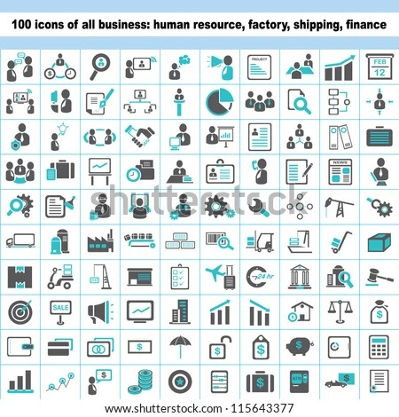 100 business icons, human resource, finance, logistic icon set - stock vector