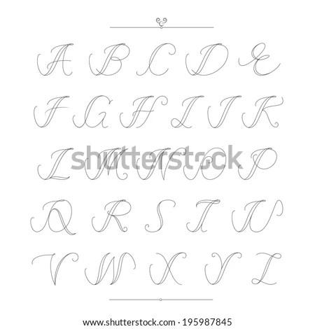 Vector hand drawn calligraphic Alphabet… Stock Photo