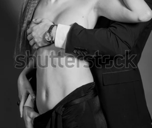 Black And White Studio Photos Erotic Young Couple On Black Background Girl In A Dress