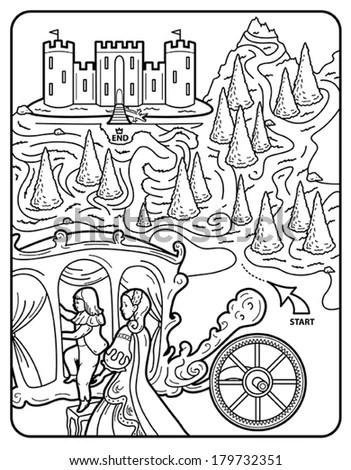 Vector Art: Coloring Book Page, Maze, English Princess