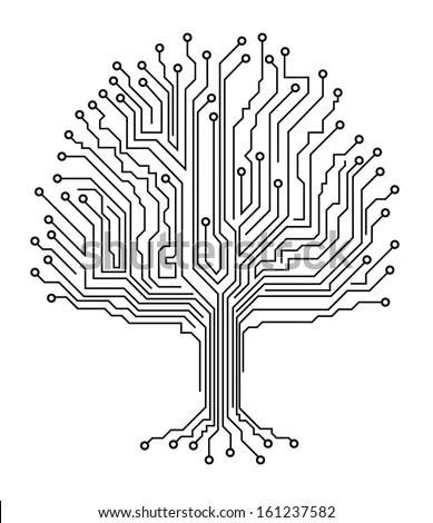 Microchip Tree Stock Vector Illustration 161237582