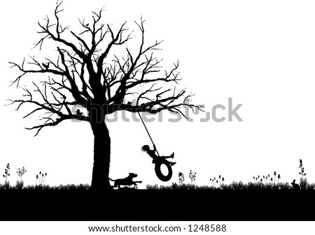 stock vector : vector silhouette graphic depicting a child playing on a tire swing