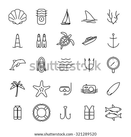 Diving And Water Activities Icons Outline Icons Set. Wind
