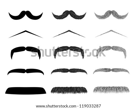 Isolated Mustache Collection Realistic Style Drawing Style