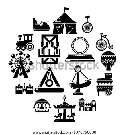 Amusement Park icons. Children play on… Stock Photo