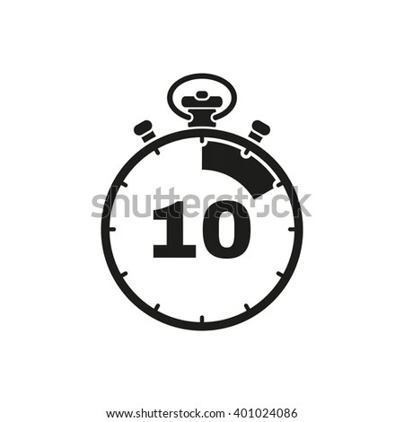 The 10 Seconds, Minutes Stopwatch Icon. Clock And Watch