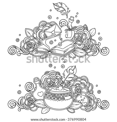 Vector Set Magic Fairy Witchcraft Compositions In Doodle