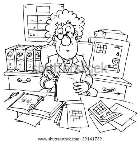 Bookkeeper Sitting At Desk With Documents Stock Photo