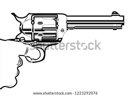 Handgun (pistol vector, old revolver) Stock Photo