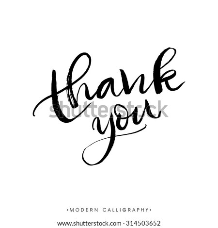 Thank You. Modern Brush Calligraphy. Handwritten Ink