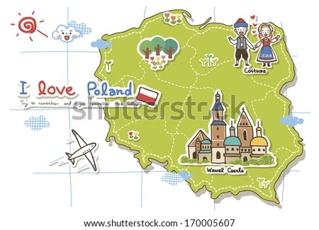 Map Of Poland Highlighting Some Points Of Interest. Stock Photo 170005607 : Shutterstock