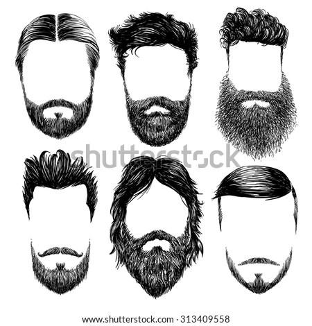 Hipster Fashion Man Hair And Beards, Hand Drawn Vector