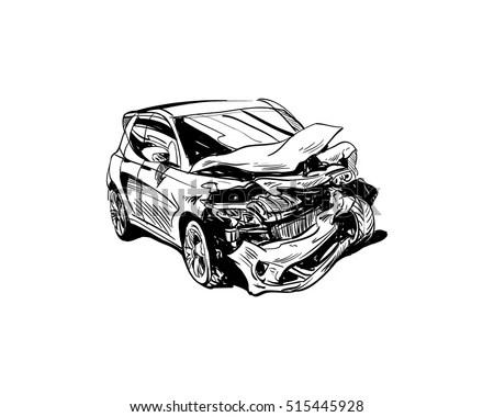 Royalty-free Hand drawn car crash illustration. Auto