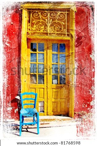 Old Traditional Greek Doors  Artwork In Painting Style