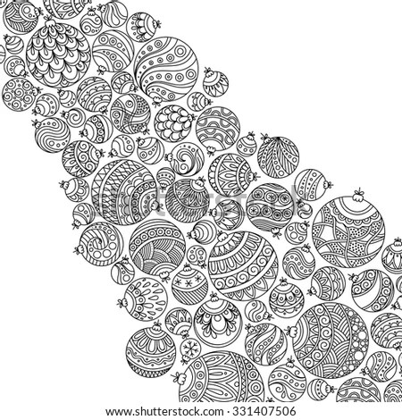 Pattern For Coloring Book. Christmas Hand-Drawn Decorative