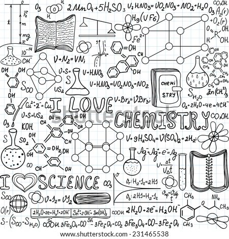 Chemistry Vector Seamless Pattern With Formulas