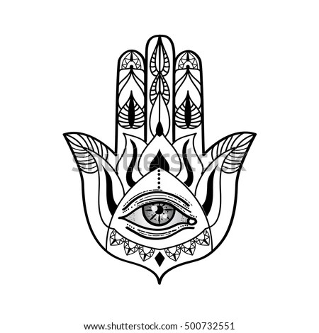 Indian Hand Drawn Hamsa with All Seeing… Stock Photo