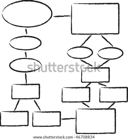 A Hand Drawn Looking Flowchart Template Stock Photo