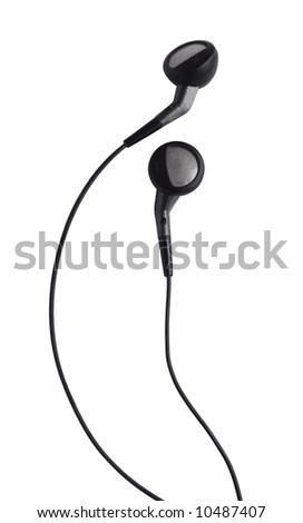 Small Headphones On A White Background Stock Photo