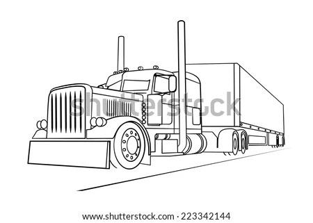Peterbilt Truck Clip Art Drawings Sketch Coloring Page
