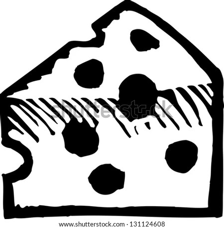 Black And White Vector Illustration Of Wedge Of Cheese