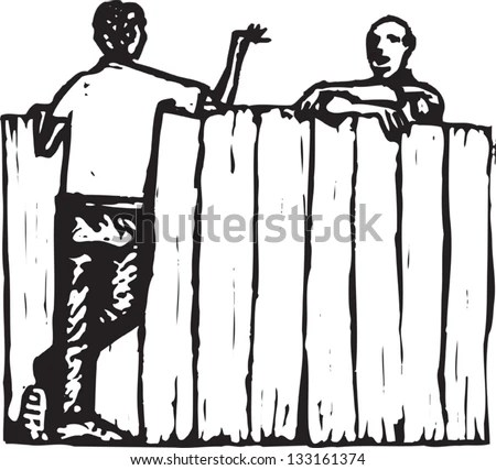 Image of neighbors chatting by the fence