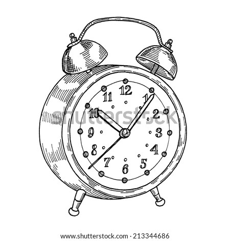 Alarm Clock, Freehand Drawing, Gravure Style Stock Vector