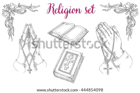 Religious set of praying hands, religious literature, the