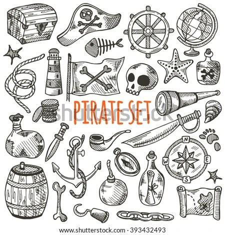 Vector Images, Illustrations and Cliparts: Freehand pirate