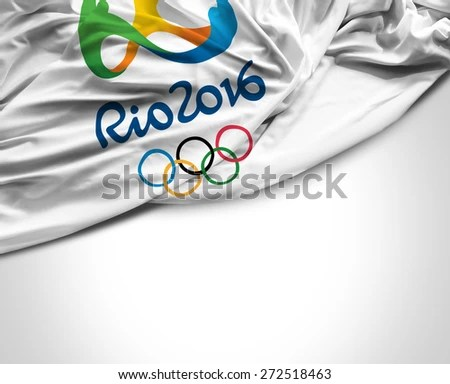 SAO PAULO, BRAZIL - CIRCA MARCH 2015: Flag with Rio 2016 Olympic Games
