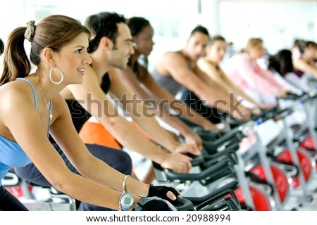 stock photo : group of people in a gym