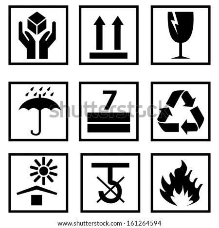 Black Fragile Symbol Stock Vector Illustration 161264594