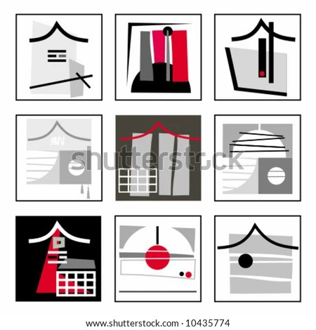 Abstract Constructive Asian Design Elements. To See