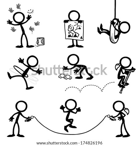 Stick Figure Kids Playing Stock Vector Illustration