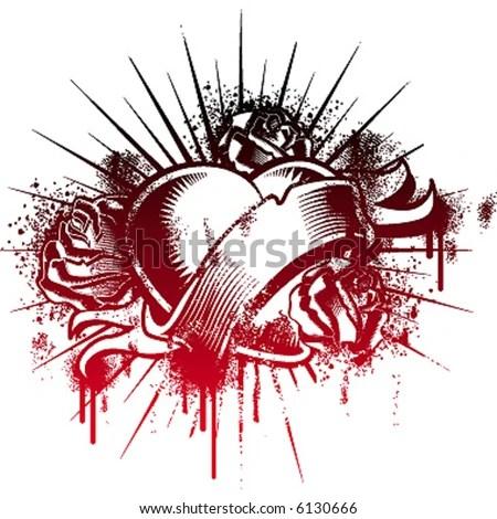 stock vector : handmade loving heart, tattoo style