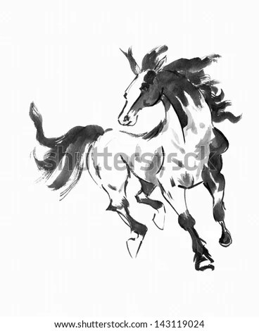 Original Art, Watercolor Painting Of Running Horse, Asian
