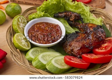 Vector Images Illustrations And Cliparts Ayam Bakar Grilled Chicken On Palm Leaf Rib Plate Indonesian Food Hqvectors Com