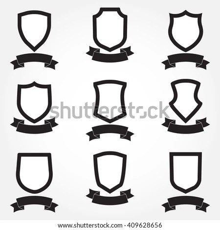 Royalty-free Shields icon set. Different shield