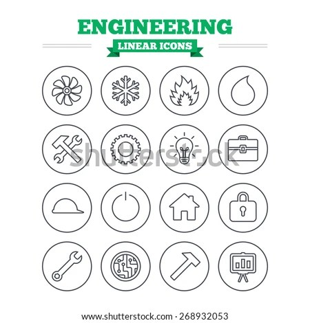 Engineering Linear Icons Set. Ventilation, Heat And Air
