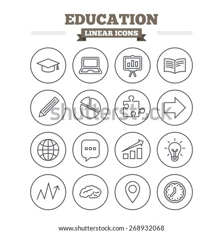 Education Linear Icons Set. Graduation Cap, Pencil And