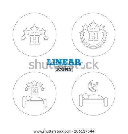 Five Stars Hotel Icons. Travel Rest Place Symbols. Human